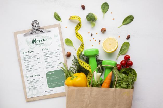 Menu et panier diététique - équilibre alimentaire - fruits et légumes
